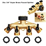 Thinkstrue 3/4 inch Fauce Splitter 4 Way Heavy Duty Brass 460g Full Flow Hose Manifold Garden Hose Splitter Connector Comfort Grip
