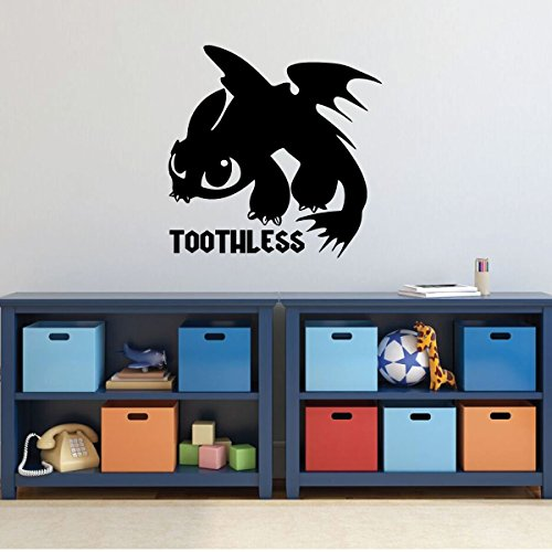 How To Train Your Dragon Wall Decal - Toothless Dragon - Personalized Wall Decor for Children's Bedroom or (Go Industries Black Powder)