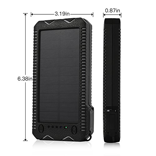 Upgraded Solar Charger15000mAh Solar Battery ChargerPortable Solar potential Bank Waterproof Dustproof Shockproof double USB PortPhone Charger for Emergency Outdoor tenting go Black and White Solar Chargers