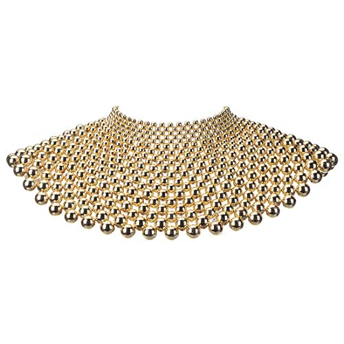 XBY-Jewel Fashion Beads Chunky Statement Gold Bib Necklaces, Shoulder Necklace Resin Collar for Women Costume Jewelry