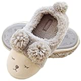 Women Wool Plush Sheep Slippers | Fleece Lined Slip On Memory Foam Clog | Indoor/Outdoor House Animal Slippers (US10.5-11, Gray Sheep)