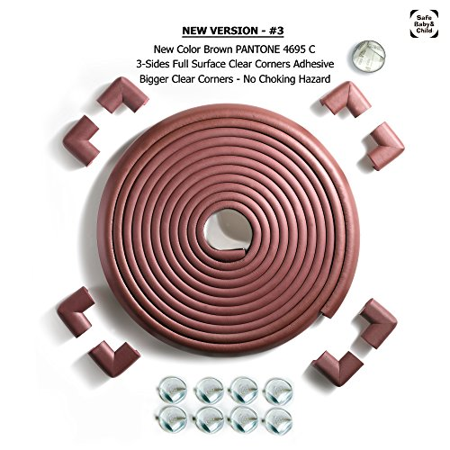 SafeBaby & Child Safety 23.2ft Long Set -16 Corner Guards Baby proofing Edge with Clear Protective Bumpers for Furniture. Cushion Foam Strip Brick pad childproof Fireplace Guard for Toddlers. Brown by SafeBaby & Child (Image #7)