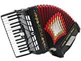 D'Luca D3048-BK Grand Piano Accordion 3 Switches 30 Keys 48 Bass with Case and Straps, Black