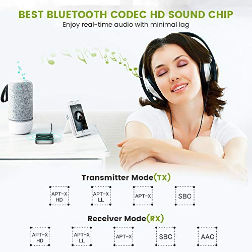 Bluetooth Adapter Audio Bluetooth 5.0 Transmitter Receiver 2 in 1 Transmitter Receivier Free Speech Calls Low Latency with 3.5mm AUX Cable for TV PC Headphones Aircraft Loudspeaker System