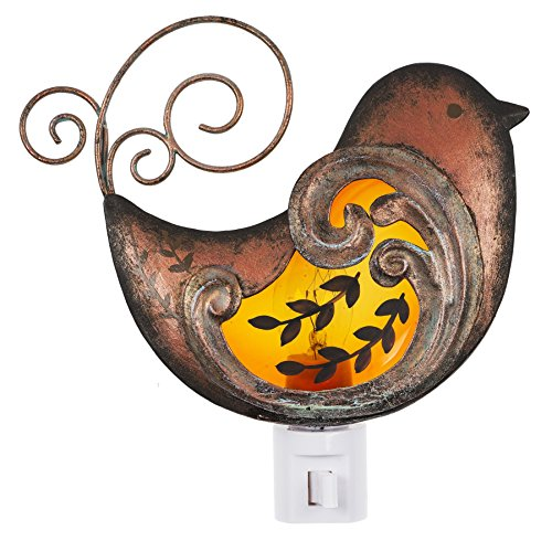 Ganz Sitting Bird Burnished Copper Tone 3 x 5 Iron Plug-In Nightlight Figurine