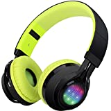 Bluetooth Headset, Riwbox AB005 Wireless Headphones 4.0 with Microphone Foldable Headphones with TF Card FM Radio and LED light for Cellphones and All Bluetooth Enabled Devices (Black&Yellow)