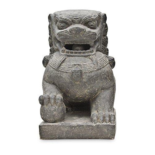 Tempelwächter Löwe Fu Hunde Wächter Löwen Hund Skulptur Stein Guss Figur Rechts 40 cm Figur Statue