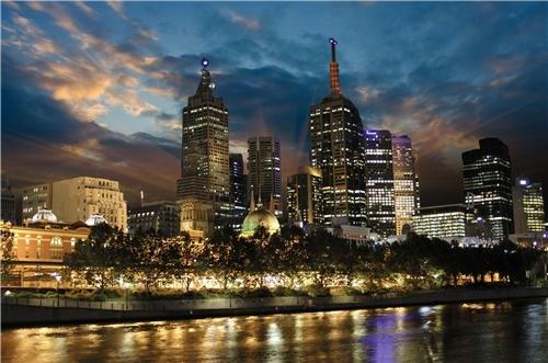 Melbourne Skyline At Night Glossy Poster Picture Photo australia victoria