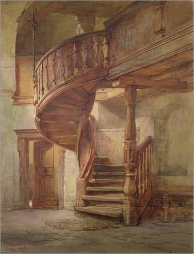 Impresión en metacrilato 70 x 90 cm: Spiral Staircase, Limburg upon Lahn de Johann Martin Gensler / Bridgeman Images: Amazon.es: Hogar