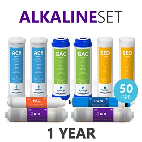 Express Water - 1 Year Alkaline Reverse Osmosis System Replacement Filter Set - 10 Filters with 50 GPD RO Membrane - 10 inch Size Water Filters