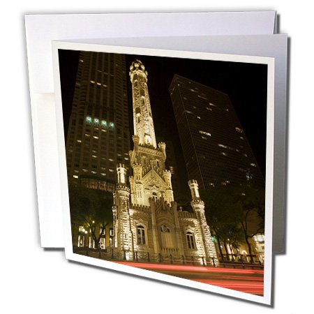 3dRose Danita Delimont - Chicago - Illinois, Chicago. Water Tower on Michigan Avenue - US14 BJA0027 - Jaynes Gallery - 12 Greeting Cards with envelopes - Tower Water Downtown