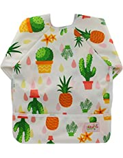 Baby Bibs with Sleeves&Pocket Kids Waterproof Feeding Bibs,6-24 Months (ZY36)