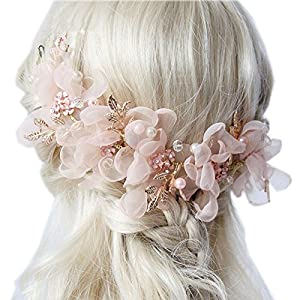 the love Wedding Headdress or Bride Accessories, Silk Flowers Headpieces Headwear Accessories for Wedding or Party, with Ribbon (Pink) 43