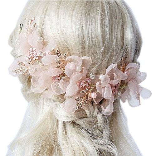 Wedding Headdress or Bride Accessories, Silk Flowers Headpieces Headwear Accessories for Wedding or Party, With Ribbon (Pink)