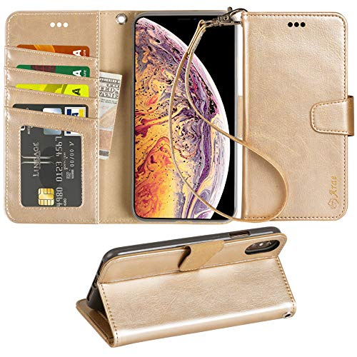 Champagne Case - Arae Wallet Case for iPhone Xs Max PU Leather flip case Cover [Stand Feature] with Wrist Strap and [4-Slots] ID&Credit Cards Pocket for iPhone Xs Max 6.5