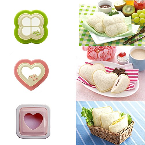 iMoreGro [3 Pieces] Sandwich Cutter, DIY Cookie Cutter Sandwich Toast Bread Mold Maker ()
