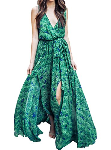 Womens Leaf Print Dress - Bbalizko Womens Boho Dress Sleeveless Deep V Neck Leaf Print Split Long Maxi Dress With Belt
