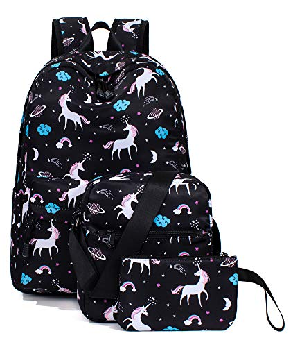 (Unicorn Backpack for Girls, School Laptop Knapsack Shoulder Bag Pencil Case Set)
