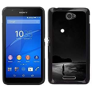 Stuss Case / Funda Carcasa protectora - Negro Luna Océano Oscuro Hombre solo; - Sony Xperia E4