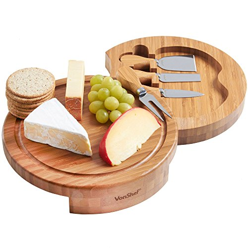 VonShef Round Bamboo Cheese Board Server Plate and 4 Piece Stainless Steel Cheese Knife Serving Utensil Set, Slide Out, Wooden, 10 Inch Diameter, with Gift Box