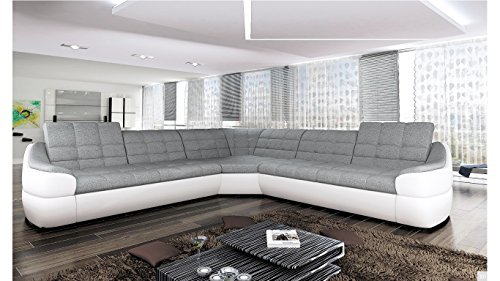 BMF 'INFINITY L WHITE GREY 5-SEATER - LARGE COMFORT FAUX LEATHER AND FABRIC CORNER SOFA - UNIVERSAL - 310cm x 310cm