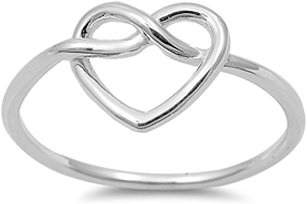 Women's Heart Infinity Knot Classic Ring New 925 Sterling Silver...