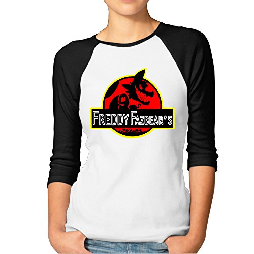 LQYG Women's Three Quarter Sleeve Tshirts - Five Nights At Freddy's-foxy-Jurassic World Black - Scottsdale Quarter
