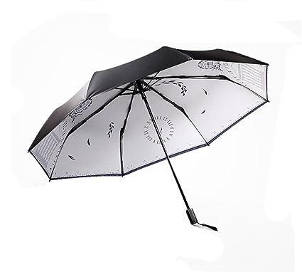 Paraguas Plegable Sombrilla Plegable pequeña y Fresca Anti-UV Sra. Lluvia a Prueba de