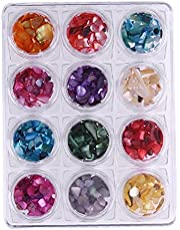 12 Colors Nail Glitter Chunky Sequins Iridescent Flakes Shell Slices Colorful Mixed Paillette for Face Body Hair Nail Art Diy Plate Module Gel Tool