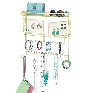 mDesign Wall Mount Jewelry Organizer for Rings, Earrings, Bracelets, Necklaces - Wall Mount, Gold/Brass