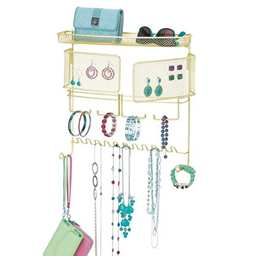 mDesign Wall Mount Jewelry Organizer for Rings, Earrings, Bracelets, Necklaces - Wall Mount, Gold/Brass MetroDecor 7873MDCO
