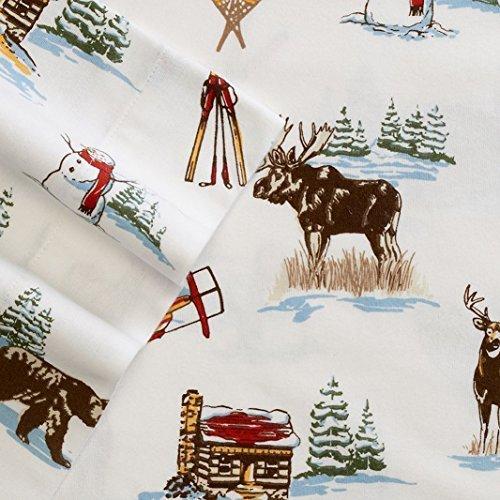 Cuddl Duds Ski Lodge Heavyweight Flannel Sheet Set Queen (Hunters Farm Christmas Tree)