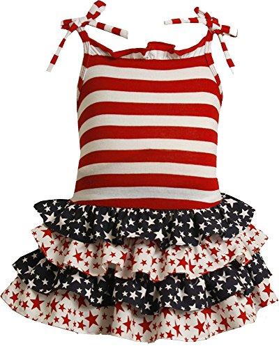 Baby Girls 3M-24M Red White Blue Stripes Stars Tier Americana Patriotic Dress (3-6 Months, - Red Tier Dress