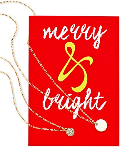 Macy's Women's 18-in Set of 2 Gold-Tone Pendant Necklaces with Holiday Greeting Card 'Merry & Bright'