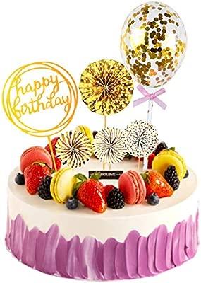 WEONE 6 Piezas Oro Feliz Cumpleaños Cake Topper, Papel ...