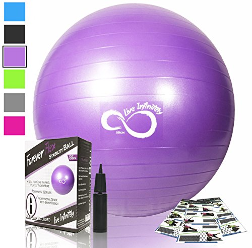 (Live Infinitely Exercise Ball (55cm-95cm) Extra Thick Professional Grade Balance & Stability Ball- Anti Burst Tested Supports 2200lbs- Includes Hand Pump & Workout Guide Access Purple 85cm)