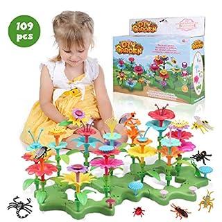 Lydaz 109 PCS Flower Garden Building Toys for Girls, STEM DIY Craft Toys - Kids Flower Educational Pretend Gardening Playset, Outdoor Toys for Toddlers 3 4 5 6 7 8 9 Year Old Girl Birthday Gift