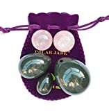 3-pcs Nephrite Jade Eggs Set, and 2-pcs Rose Quartz Ben Wa Balls Bundle, with One Box Unwaxed String, Instructions & Certificates, for Training PC-muscles, Yoni Massage and Healing, Polar Jade