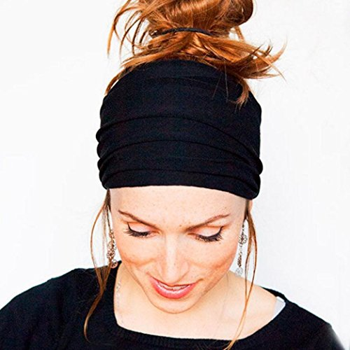 Price comparison product image DZT1968 Women Wide Cloth Headband Elastic Hairband For Sports Yoga Bath Make Up Daily (Black)