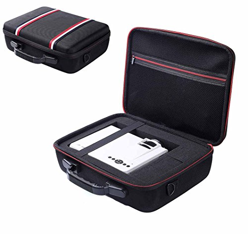 Esimen Hard Travel Case for DBPOWER T20 1500 Lumens LCD Mini Projector Multimedia Home Theater Video Projector EVA Carrying Bag (Black) by Esimen