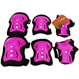 eNilecor Kid's Knee Pads Wrist Roller Elbow Blading Blades Pad Guards for Skating as Girls Birthday, Christmas Gift Pack of 6