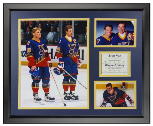 "Wayne Gretzky & Brett Hull - St. Louis Blues 16"" x 20"" Framed Photo Collage by Legends Never Die, Inc."