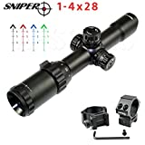 SNIPERÂ Rifle Scope 1-4x28 Compact 5'' Eye Relief QTA W/e Side RGB ILL Etched Glass. HOT August Sale!!!!
