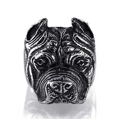 Elfasio Mens Biker Ring Pitbull Bulldog Silver Black Tone Stainless Steel Band Ring -