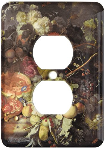 3dRose lsp_149700_6  Still Life of Fruit Upon A Marble Ledge, Birds Nest and A Basket of Flowers by Jan Van Huysum 2 Plug Outlet Cover