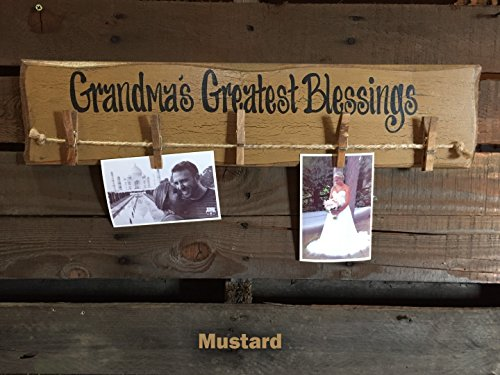 "PHOTO Holder Sign GRANDMAS Greatest Blessings Reclaimed Wood 24"" Picture Frame Gift for Grandma Grandkids Family Rustic Clothes Pins Clips - teal mint green blue mustard yellow burgundy red"