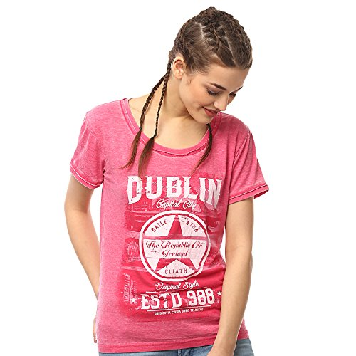 - Pink Dublin Capital City Ladies T-Shirt With Star Design and EST 988 Text