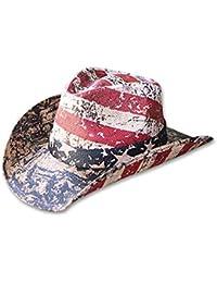 Men s Vintage Tea-Stained USA American Flag Cowboy Hat w  Western Shape-It ce1735af2222
