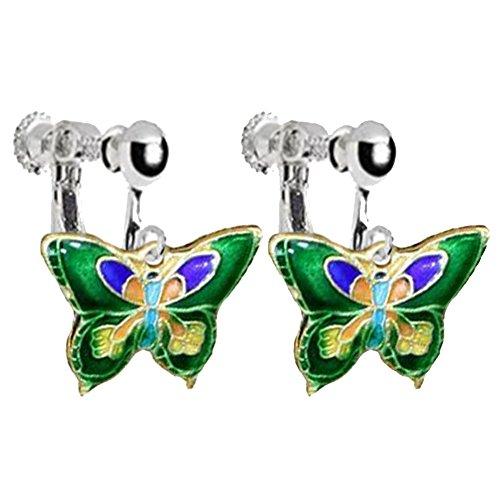 Enamel Butterfly Clip on Earrings for Girls Women Princess Birthday DIY Jewelry (Enamel Earrings Clip)