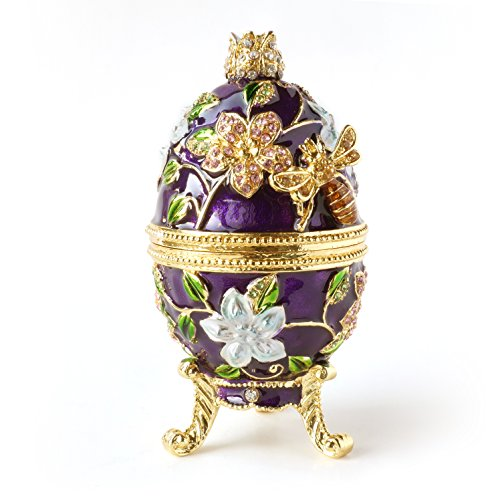 Apropos Hand- Painted Vintage Style Bee and Flowers Faberge Egg with Rich Enamel and Sparkling Rhinestones Jewelry Trinket Box (Purple)